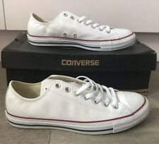 Converse All Star Ox White Leather UK 10 Mens 132173C New Boxed