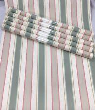 Wallpaper Lot 6 Double Rolls Striped Tan Pastel Green Beige Wide Thin Stripe