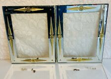 2 Vtg Mcm Art Deco Gold Etched Floral Pictures Frames Wall Mirror Pair Rare