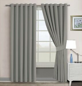 Grey Blackout Curtains Eyelet Ring Top with Tiebacks Extra Long & Extra Wide