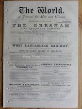 1876 THE WORLD - A Journal for Men & Women NEWSPAPER Oct 11th Social Political