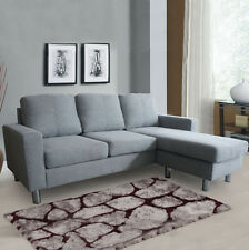 Modern Cool Grey Fabric L Shaped Corner Sofa Small 3 Seater Universal Chaise