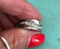 Brighton TRINITY SILVER CRYSTAL Ring Size 7  Preloved w/ POUCH