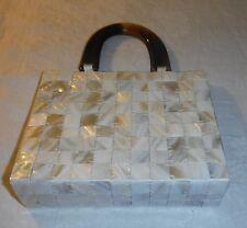 *ACCESSORIZE 50s RETRO M.O.P. SQUARES & WHITE SATIN SMALL HAND BAG EXQUISITE