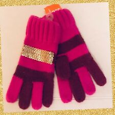 "NWT S Gymboree ""BUNDLED & BRIGHT"" Purple & Burgundy Striped GLOVES Gold Sequins"