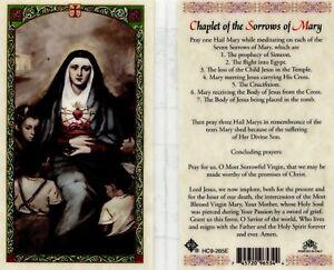 Chaplet of the Seven Sorrows of Mary Laminated Prayer Card Catholic Meditation
