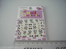 Nail tip Art stickers transfer water decals Prancing Black Cat Gold + Bows Jh35