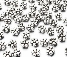 50 x Quality 6mm Silver Plated Daisy Flower Metal Spacer Beads, Jewellery Craft