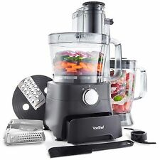 VonShef 1000W Food Processor Blender Chopper Mixer Storage Draw - Matte Black