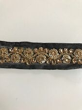 ATTRACTIVE INDIAN GOLD FLORAL SEQUINS & CRYSTALS BLACK LACE/TRIM-SOLD By METER
