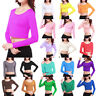 Women's Long Sleeve Stretch Plain Basic Scoop Neck T Shirt Crop Top Fitted Tee