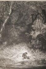 GUSTAVE DORE PETIT POUCET  GRAVURE SUR BOIS 1862 PAPIER MARAIS R3121 PRINT