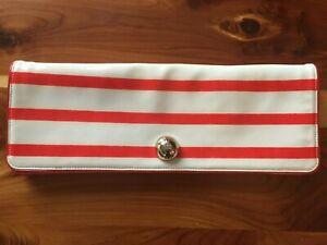 cream red stripe patent leather long clutch Kate Spade preppy nautical handbag