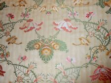 2 5/8Y remnant FABRICUT fabric floral Scrollwork brocade salmon pink green gold