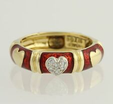 NEW Hidalgo Diamond Heart Band 18k Yellow White Gold Love Stackable Ring .06ctw