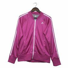 Adidas Tracksuit Jacket Size Womens 14 Pink White Striped Logo Medium Track Top