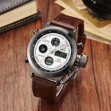 OHSEN Weiss Militär Analog Digital LED Licht Herren Quarz Leder Armband Uhr