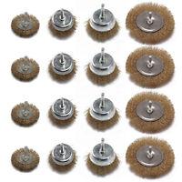 12x Drill Wire Wheel Brush Cup & Flat Crimped Steel Drill Attachment Brush Kits