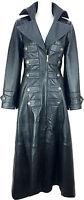 UNICORN Mujeres genuino cuero gótico gabardina Abrigo longitud total Negro #M5