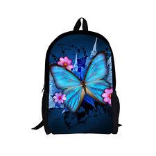Back to School Backpacks Blue Butterfly Shoulder Book Bags for Girls Teens Kids