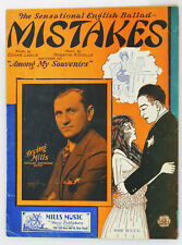 """""""Mistakes"""" 1928 Vintage Sheet Music Great Period Cover"""