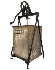 LATE 19TH C ELGIN ANTIQUE PNTD TIN BUTTER CHURN W/IRON GEAR ASSMBLY/WOOD PADDLES