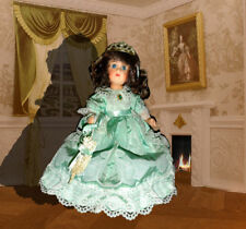 """Porcelain Jointed 12"""" Doll w/ Victorian Style Box"""