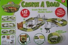 DINO DINOSAUR RACE CAR TRACK TRUCK SET W LONG BRIDGE BUILD A ROAD FLEX FLEXIBLE