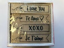 4 Wooden Valentine's Day Classroom rubber stamps Teacher Supply card making love