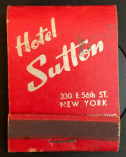 Vintage Hotel Sutton NYC Restaurant and Bar Matchbook Used