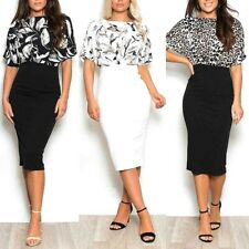 Womens Print Bodycon Batwing Dress 10 12 14 16