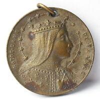 Médaille religieuse pendentif Notre Dame de France c1920 AJ Corbierre 22mm Medal