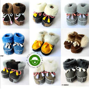 Baby REAL SHEEPSKIN Slippers, Leather Boots, Girls, Boys, Newborn - 2 years