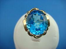 STRIKING 14K YELLOW GOLD LARGE DARK BLUE TOPAZ LADIES RING 6.3 GRAMS SIZE 6.25