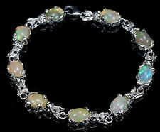 AMAZING!! NATURAL!! TOP QUALITY MULTICOLOR OPAL SILVER BRACELET 7.25 INCHES