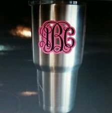 Two Color Three Initial Monogram Decal for YETI Tumbler Vinyl Sticker Gift
