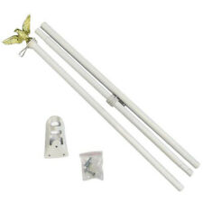 6ft Flag Pole 6' White Outdoor Steel Wall Hanging Flag Pole Eagle Top w/Bracket