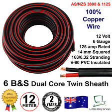 New 12m 6B&S DUAL BATTERY CABLE 6 B S Twin Core Auto Metre B&S 6BS BS Wire 12V