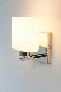 Wandleuchte Parata weiß/stilvoll elegant/Glasschirm/Metall verchromt/Wandlampe
