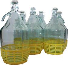 6 STÜCK 5L Gärballon mit BÜGELVERSCHLUSS und Korb Flasche Glasballon Weinballon