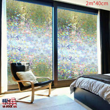 3D Static Cling Mosaic Colorful Stained Glass Window Door Glass Film Decor 2M