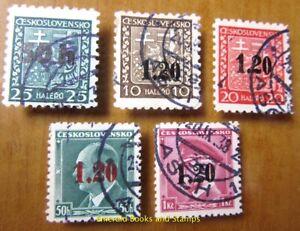 EBS Sudetenland 1938 Asch (Aš) overprints Aufdrucke Michel 1-5 Used 3229 cv $183
