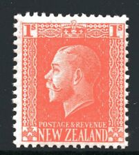 New Zealand 1915 1 Shilling Orange King George V Recess Mint Lightly Hinged