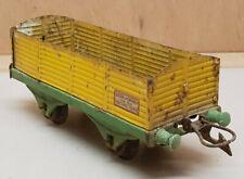 Ancien jouet wagon marchandise jaune/vert ech O train SNCF serie Hornby meccano