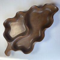 Vintage Leaf Shaped Wood Divided Serving Tray Dish Bowl Mid Century Modern