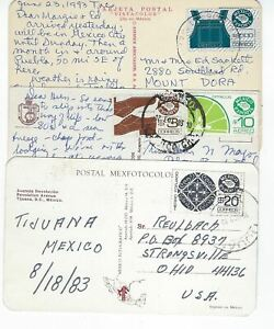 EXPORTA STAMPS ON 3 PICTURE POSTAL CARD MEX-USA (PP38)