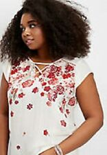 Maurices~New With Tags~White & Red  V-neck & Back Floral Top~Plus 3-3XL