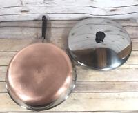 "Vintage Revere Ware 12"" Frying Pan w/ Lid Copper Bottom Stainless Steel 1801"