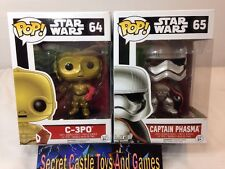 Funko Pop! C-3PO 64 & Captain Phasma 65 STAR WARS The Force Awakens