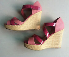 MARKS & SPENCER LIMITED COLLECTION PINK PATENT WEDGE SANDALS - UK  SIZE 4 -BNWOT